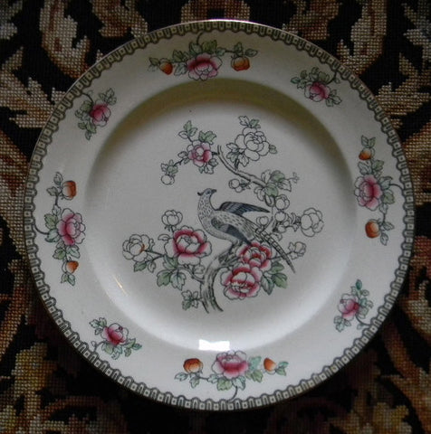 Aesthetic Black Polychrome Transferware English Plate Pheasants Cherry Blossoms Flowers