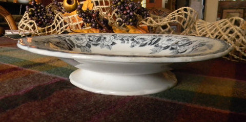 Antique  Flow Blue Gray Transferware  Footed Compote  Serving Dish Rose Wreath Charles Meigh