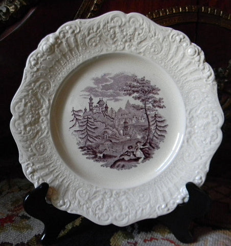 Antique Purple Aubergine English Transferware Plate Embossed Border Romantic Couple Picnic Pastoral Goats