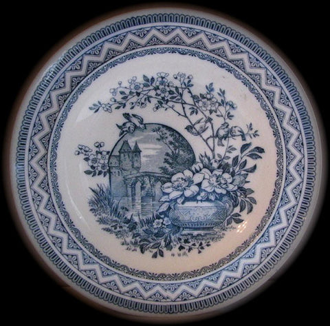 Wedgwood Victorian Aesthetic Teal Blue Transferware Soup/Salad Bowl or Plate Birds on a Branch Vase of Flowers Moonlit Castle