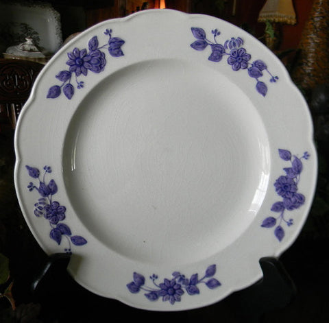 Antique  English Creamware  Plate  Embossed and Painted Purple Floral Border George Jones