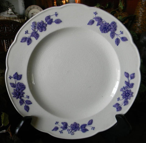 Antique  English Creamware  Plate  Embossed Purple Floral Border George Jones Bouquet