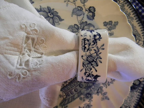 Blue Transferware Napkin Ring Tonquin Flowers Roses  Hard to Find