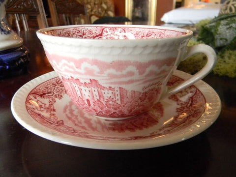 Red Pink Transferware Cup Teacup and Saucer  Historic Ludlow Castle & Caldicot Castle River Scrolls and Roses
