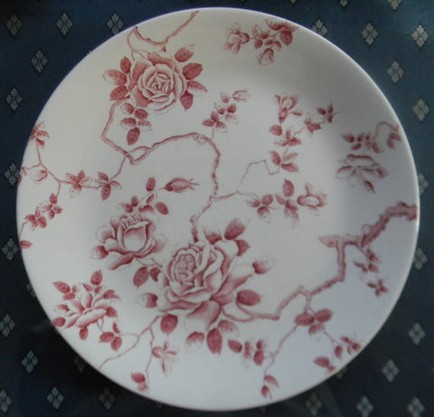 Red Toile Roses Vintage English Transferware Plate