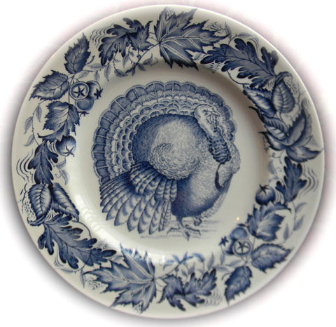 Thanksgiving Turkey Blue Transferware Plate Clarice Cliff  Autumn Foliage Royal Staffordshire