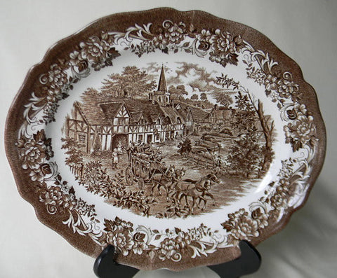 Brown Transferware Platter Travelers Horses Children Roses