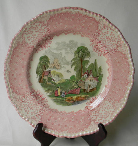 Victorian Cottage English Polychrome Red / Pink Transferware Scenic Plate Royal Doulton Chatham
