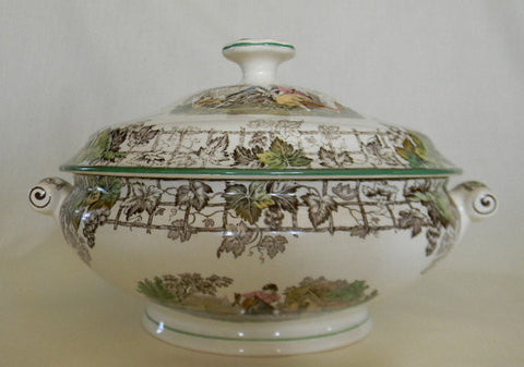 Spode Byron Dual Handled Pastoral Brown Transferware Lidded Tureen Covered Casserole