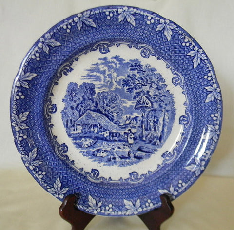 Circa 1890s Antique Staffordshire Blue Transferware Plate Rural Scenes Farm Cows Pigs George Jones