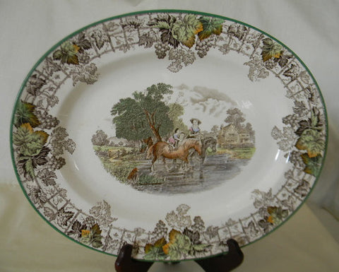 Vintage Spode Byron Brown Transferware Platter Children Dog Horse