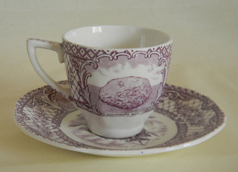 Crown Ducal Colonial Times Purple Transferware Demi Demitasse Cup and Saucer Pilgrims Mayflower Ship Plymouth Rock etc Thanksgiving