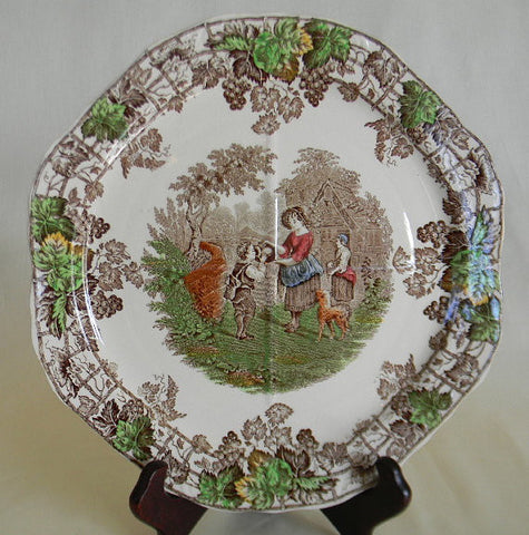 Spode Byron Brown Transferware Cake Platter Mother Boy Dog Octagon Shaped No 2
