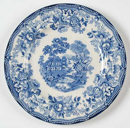 Blue Transferware Dinner Plate Tonquin Wading Swans Waterfall Roses Sail Boat