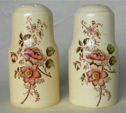 Brown Polychrome Transferware Salt and Pepper Shakers Basket of Roses Flowers Charlotte