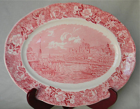 Large Thames River Scenes Pink Red Transferware Platter Flowers Pastoral Scene