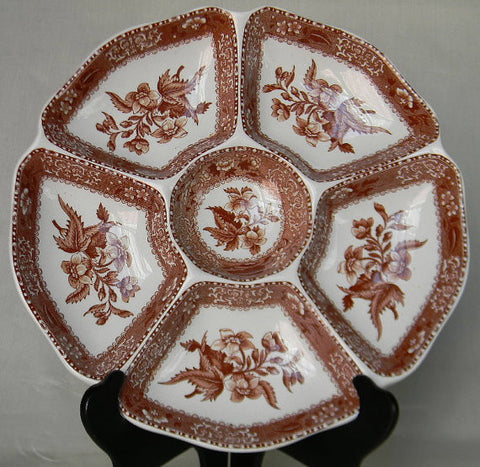 RARE Copeland Spode Brown Transferware Camilla 6 Sectioned Lazy Susan Divided Hors d'oeuvre Serving Platter