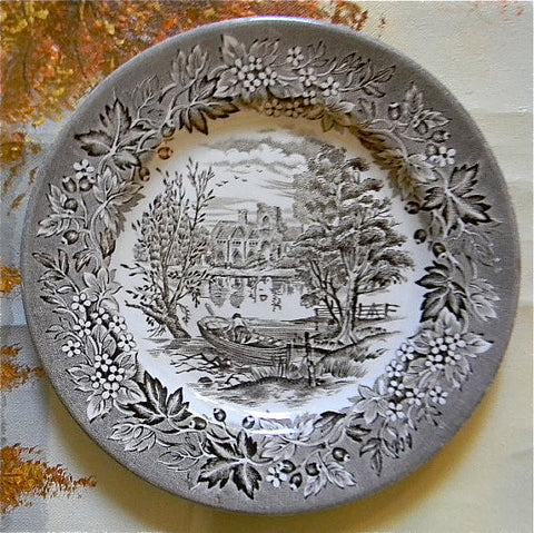 Brown and White Toile Transferware Plate Row Boat Rowboat English Manor Home Lake Flowers and Vines