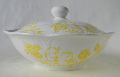 Vintage English White Ironstone Yellow Scrolls and Vines Covered - Lidded Casserole Tureen