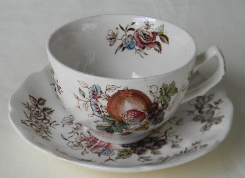 Johnson Brothers Windsor Ware Harvest Fruit Tea Cup and Saucer Plate Brown Transferware Pomegranate Grapes Fruits Mums