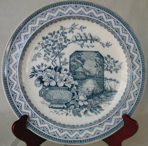 Wedgwood Victorian China Aesthetic Teal Blue Transferware  Plate Birds on a Branch Vase of Flowers Moonlit Castle 10""