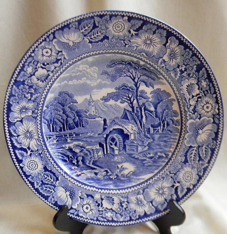 Blue Transferware Pastoral Midwinter Rural England Plate Church Water Mill Stream Bridge Peony