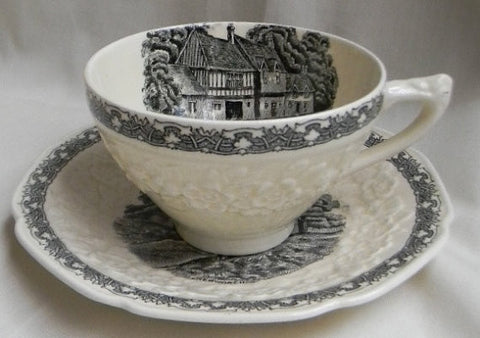 Antique  Black English Transferware Cup and Saucer  Embossed Floral Border Rural England