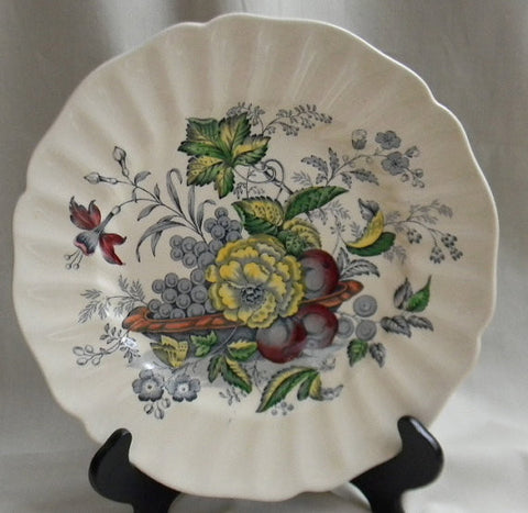 Blue Transferware Plate Basket of Fruit and Flowers Butterfly Royal Doulton