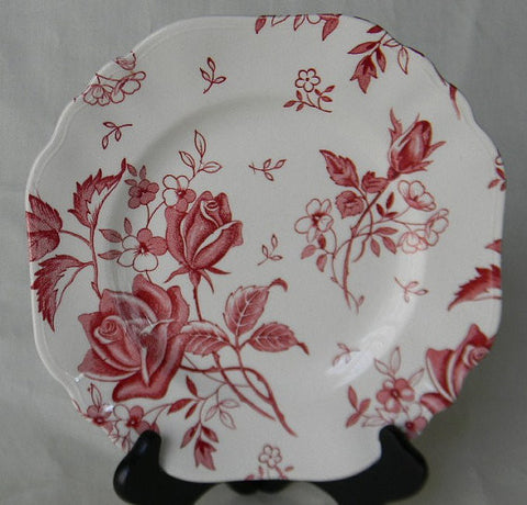 Red Toile Tudor Roses  and Rosebud Vintage English Transferware Square Plate