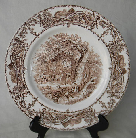 Brown Transferware Charger Rural Scenes Plate Mother Children Dog Woodcutter Rural Scenes English Transferware