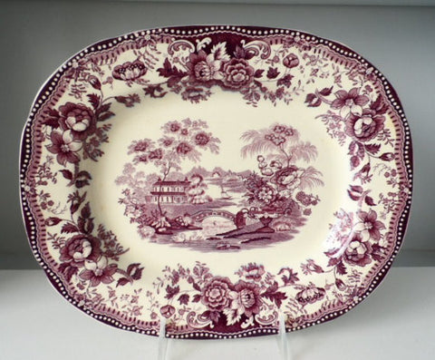 Purple Transferware Tonquin Platter Scenic Sailboat Swans and Roses Clarice Cliff Staffordshire Vintage