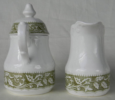 Sage Olive Green  Transferware Sugar Bowl and Creamer Cream Pitcher Scrolls Leaves Vines