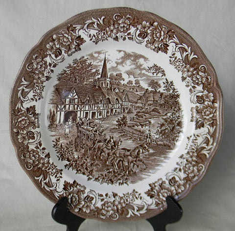 "Brown Transferware Scenic 10"" Dinner Plate Church Children Horses Roses"
