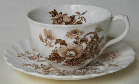 Vintage Charlotte Brown Transferware  Teacup CUP and SAUCER Basket of Roses