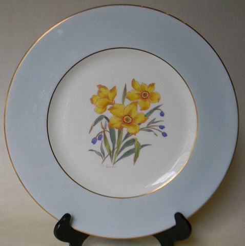 English Staffordshire Charger Plate George Jones Spring Daffodils Hand Painted and Signed 3 in Series of 12 RARE