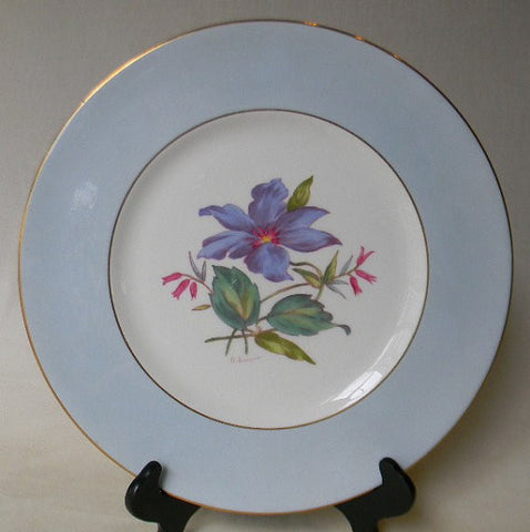 English Staffordshire Charger Plate George Jones Spring Clematis Hand Painted and Signed 4 in Series of 12 RARE