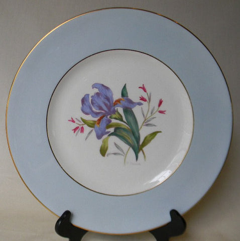 English Staffordshire Charger Plate George Jones Spring Iris Hand Painted and Signed 5 in Series of 12 RARE