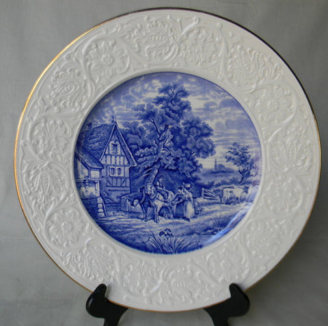 Blue English Transferware Coalport Pastoral Charger Platter Serving Tray Horses Cows Milkmaid Cottage with Embossed Border