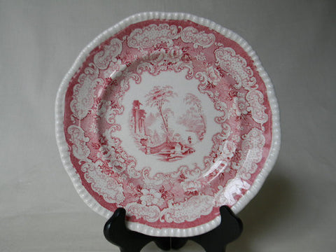 Antique Red / Pink Staffordshire Transferware Plate Bishop & Stonier Circa 1927