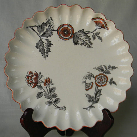 Antique Spode Black Transferware Scalloped Aesthetic Dish Plate Floral Medallions Asheburne