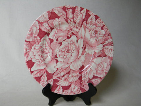 Vintage English Red Pink Chintz Transferware Roses Bread Plate Bermuda
