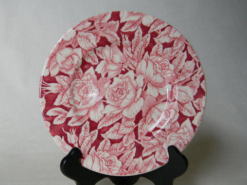 Vintage English Red Pink Chintz Transferware Bermuda Roses Plate