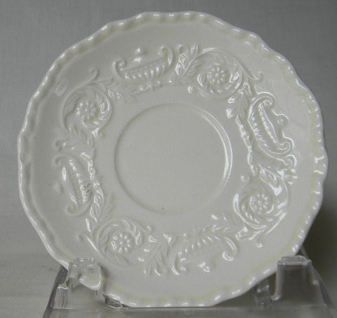 Vintage CreamWare Cream Ware Small Saucer Plate w/ Embossed Urns and Floral Scrolls Border