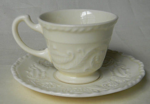 Vintage  CreamWare Cream Ware Demitasse Cup and Saucer  w/ Embossed Urns and Floral Scrolls Border