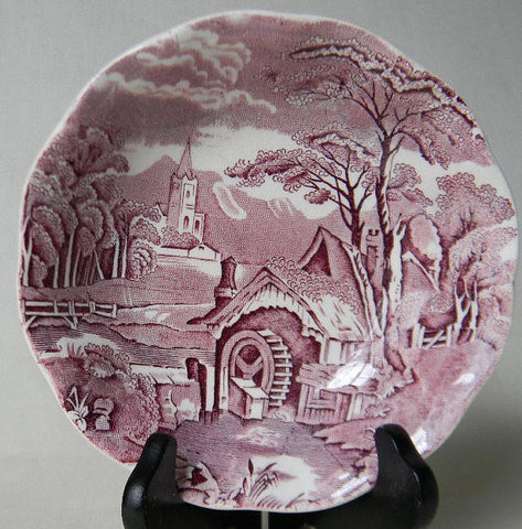 Midwinter Rural England Purple Transferware Pastoral Bowl Candy Dish Church Water Mill Stream Bridge
