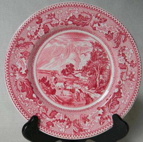 Historic America Red Transferware Plate Covered Wagon Rocky Mountains Acorns Oak Leaves