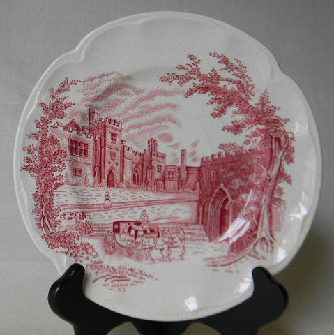 Vintage Johnson Bros Pink Red Transferware Plate Haddon Hall  Castle Roses w/ Horse Drawn Stagecoach