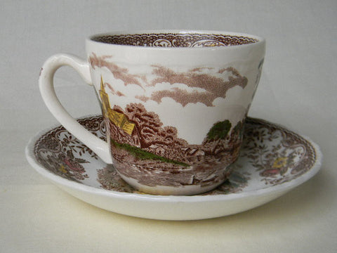 "Vintage Royal Tudorware ""Olde England"" Brown Toile Transferware Tea Cup and Saucer"