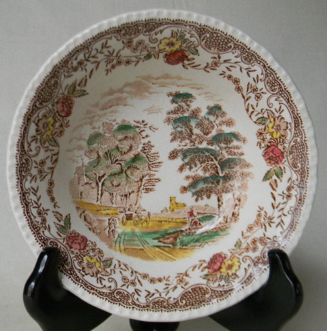 "Royal Tuder Ware ""Olde England"" Brown Polychrome Transferware Cereal Bowl"