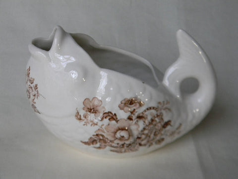 Brown Transferware Fish Shaped Pitcher Creamer Charlotte Staffordshire